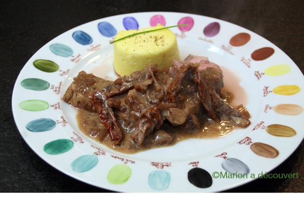 Noix de veau cuite à base température, crème porto/tomates séchées