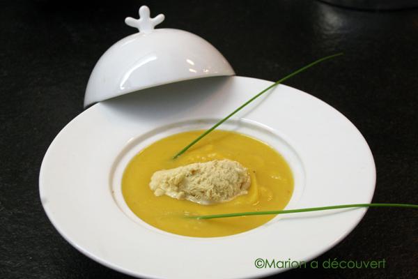 Velouté de potiron, crème glacée au foie gras