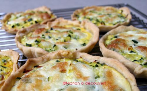 Tartelettes courgettes/mozzarella/jambon fumé