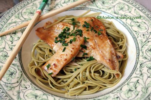Filets de poisson marinés au miso, nouilles soba au thé matcha…