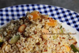 Salade aux deux céréales, courgettes, abricots secs et amandes torréfiées…