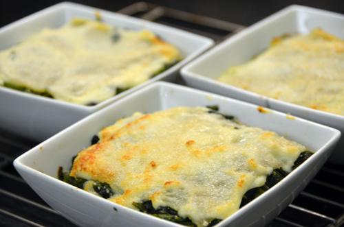 Lasagnes aux 3 légumes verts, chèvre et béchamel