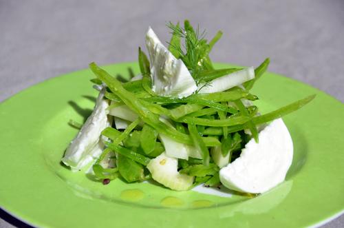 Salade de fenouil, pois gourmands et mozzarella bufala