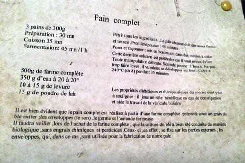 recette pain complet