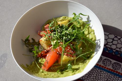 Coeur de saumon, panais rôtis et guacamole