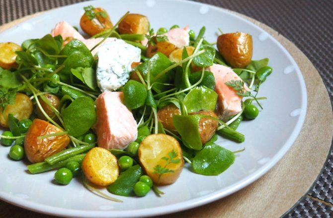 Salade de printemps aux rattes, saumon poché, haricots verts, petits pois et crème aux herbes